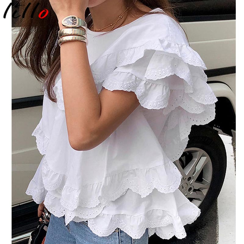 Women Shirts Blouse   Layered Lace Lotus Leaf Lace Round Neck Pullover Shirt Women White Summer Women Shirt Casual Cotton Short