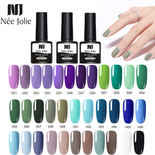 NEE JOLIE 46 Solid Colors 8ml Gel Nail Lacquer Purple Green UV Polish Soak Off Art Varnish For Decoration