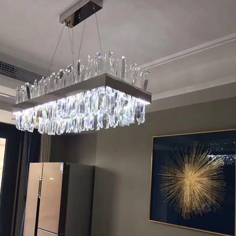 Image 5 - Luxury rectangle crystal chandelier lighting for dining room kitchen island lamps hanging modern chrome led chandeliers-in Chandeliers from Lights & Lighting
