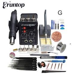 Black 750W 2 in 1 SMD Equipment Rework Station Eruntop 8586 8586  Hot Air Gun  Solder Iron  Heating Element