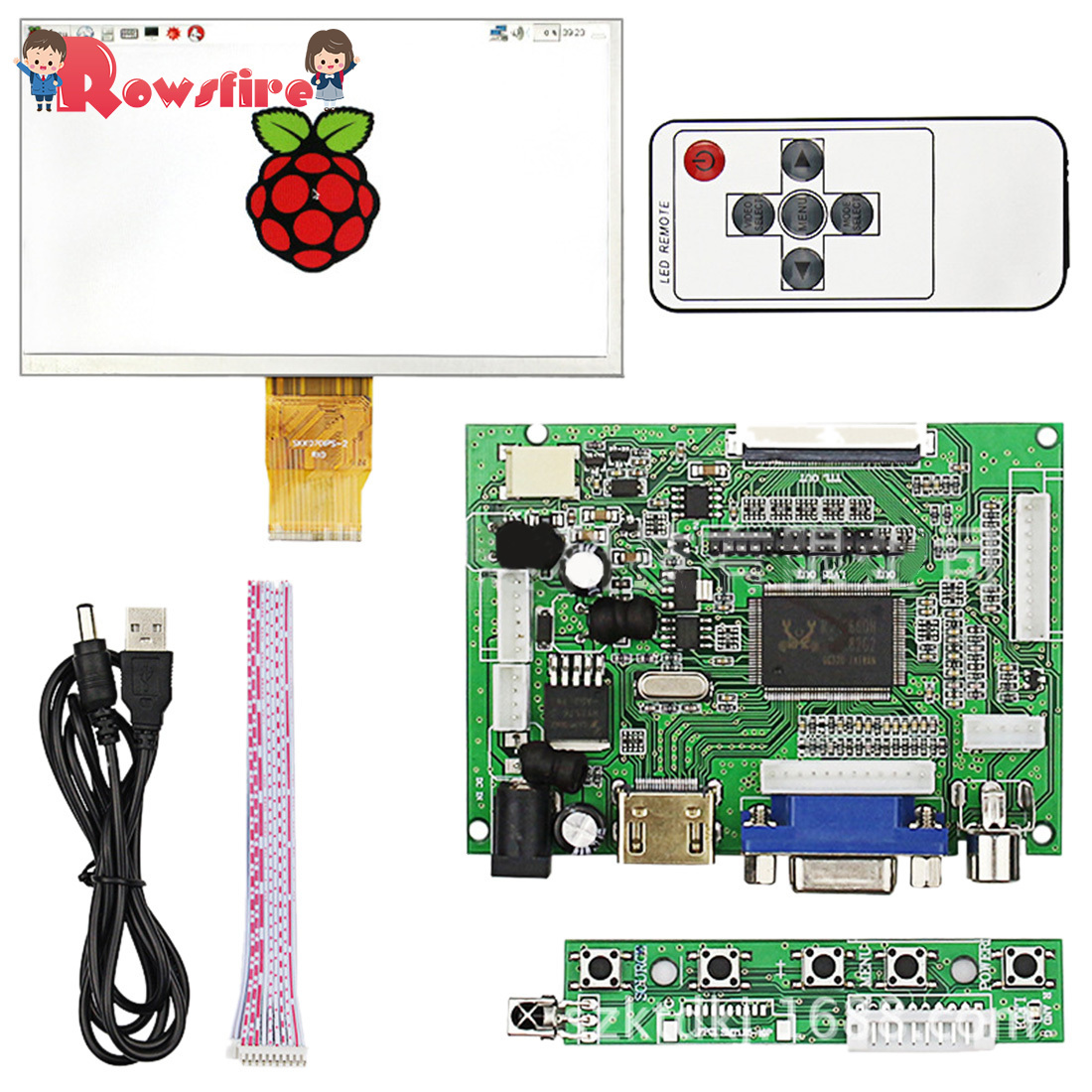 High-Definition 1024*600 50pin 7-Inch Split Viewing Screen For Raspberry Pi 3B+/3B/2B