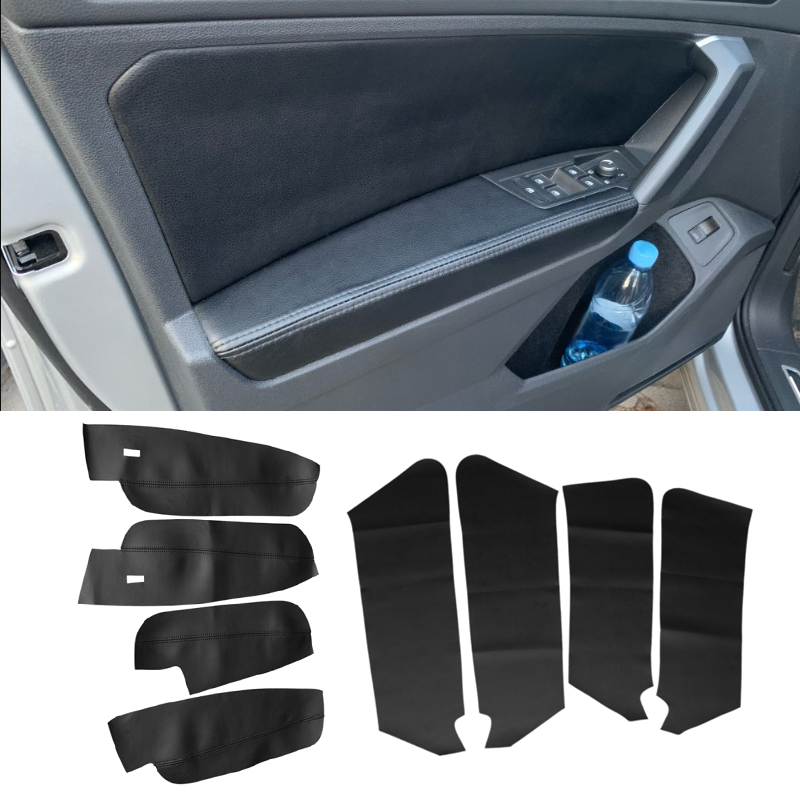 For VW Tiguan 2017 2018 2019 4pcs Microfiber Leather Interior Door Panels Guards / Door Armrest Panel Cover Protective Trim