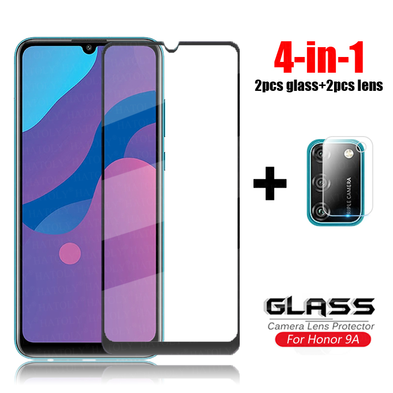 4-in-1 Glass On Honor 9A Tempered Glass For Huawei Honor 9S 9C X10 20 8S 9X Lite Pro Camera Lens Screen Protector Glass Honor 9A