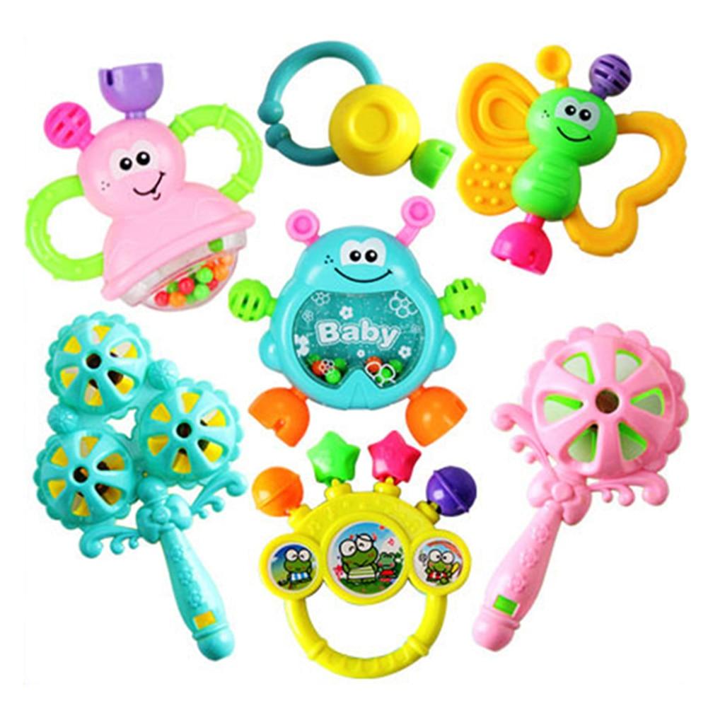 7 PCS Set Cartoon Baby Bell Rattles Newborns Music Toys For Children Infant Kids New Design