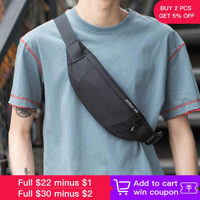 Hk Fanny Pack noir étanche argent ceinture sac hommes sac à main adolescent voyage portefeuille ceinture mâle taille sacs étui à cigarettes pour téléphone
