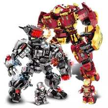 650Pcs Marvel Avengers Endgame Iron Man Armor Technic Hulkbuster Mech Figures Compatible Legoed City Building Blocks Bricks Toys(China)