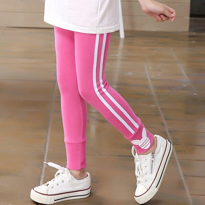 Spring Autumn Girls Leggings Pants for Girls Sport Leggings Side Stripe Children School Trousers Kids Clothing 2