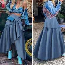 Maxi Skirt Celmia Elegant Womens Denim High-Waist Fashion Causal Holiday Ruffles Party