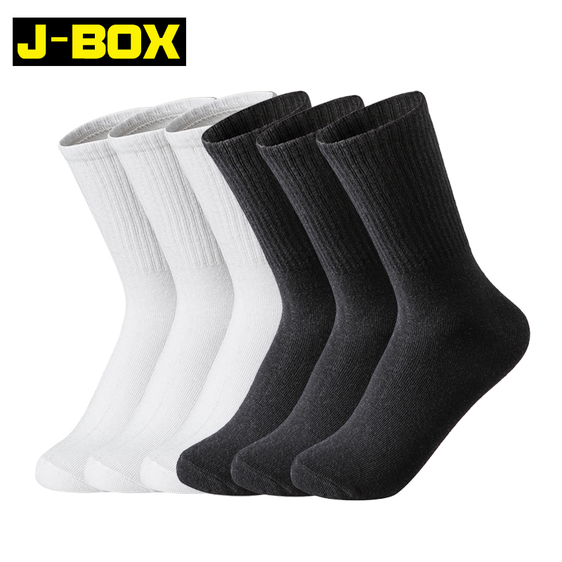 J-BOX  6 Pairs  Men's Socks Pure White Black Casual Socks Solid Color Sports Boy Winter Long Funny Socks For Men