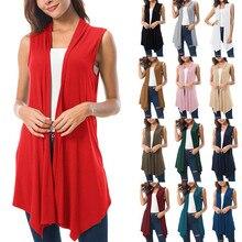 13 Colors Women Draped Open Front Cardigan Summer Sleeveless Vest Asymmetric Hem Plus Size Women Tops 2XL collarless open front asymmetric cardigan