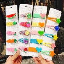 5Pcs/Set New Fashion Girl Hair Clip Flower Fruit Transparent Accessories Star Love Barrette Cute Acrylic Colorful Headdress