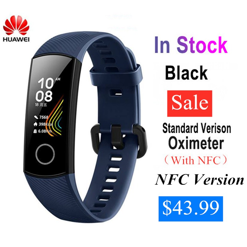 Huawei originais Honra Banda 5 Banda Inteligente Com NFC Tela Colorida Oxímetro Monitor de Freqüência Cardíaca de Fitness Rastreador Pulseira À Prova D' Água