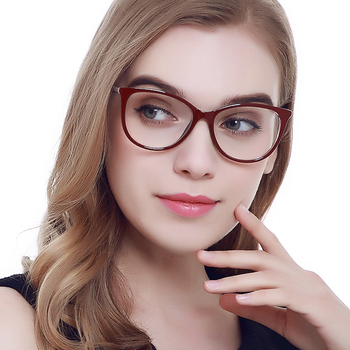 Feishini Computer Glasses Oval Rays Radiation Gamin Eyewear Plastic Titanium Frames Brand Anti Blue Light Glasses Frames Women image