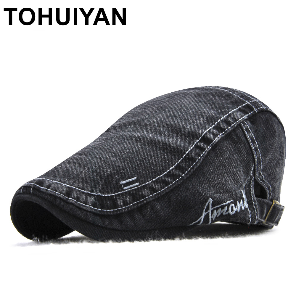 TOHUIYAN Brand Mens Newsboy Cap Gorras Para Hombre Washed Cotton Duckbill Hat Baker Boy Peaked Hats Male Casual Cabbie Ivy Hats