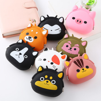 2019 New Coin Purse Mini Silicone Animal Small Coin Purse Lady Key Bag Purse Children Gift Prize Package Bluetooth earphone bags