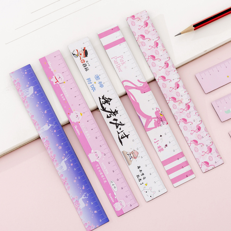 Cute Cartoon Girl Soft Ruler Small Fresh Student Bendable Magnetic Measurement Ruler 18cm