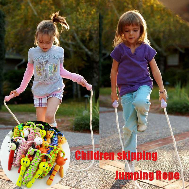 Kids Cartoon Jump Rope Wood Handle Outdoor Sport Game Bodybuilding Fitness Skipping Ropes Interactive Physical Toys For Children