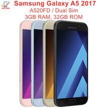 Samsung-teléfono inteligente Galaxy A5 2017, Dual Sim, A520FD, 3GB de RAM, 32GB de ROM, ocho núcleos, 5,2 pulgadas, 16MP y 16MP, Exynos, NFC, reconocimiento de huella dactilar