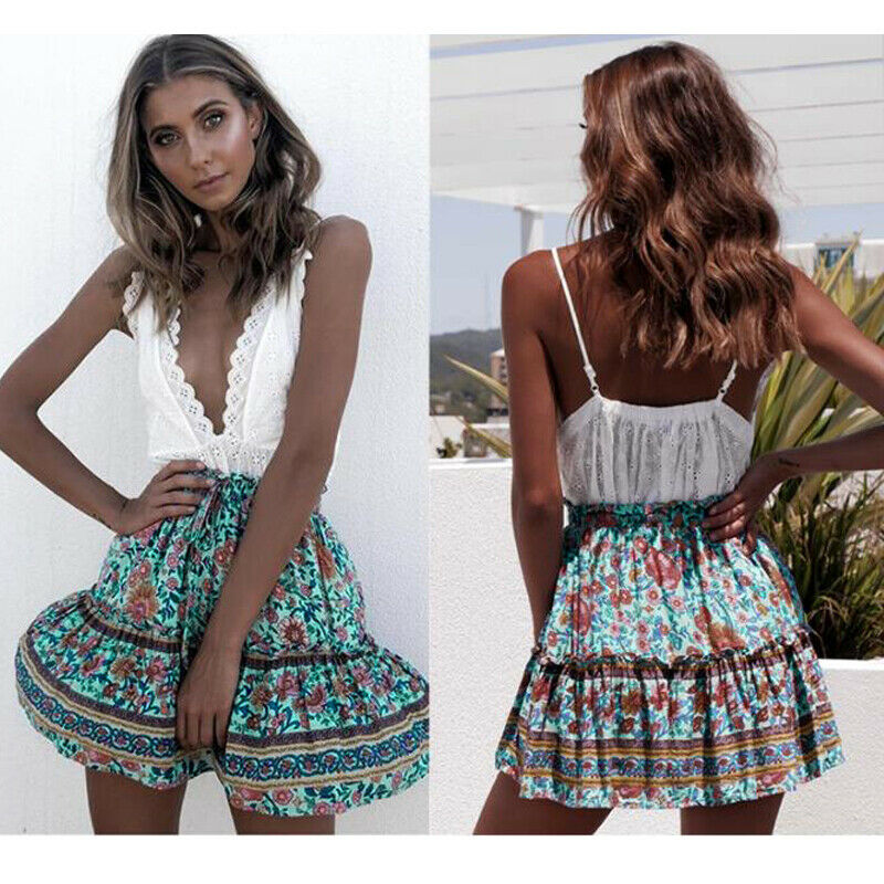 Womens Boho Floral Print Skirt Lady Holiday Casual Sweet Beach Short Mini Dress