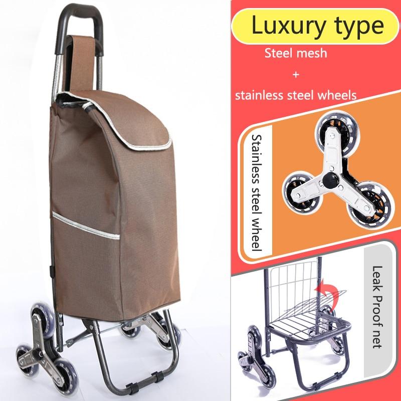 Поднимайтесь вверх, тележка для покупок, большие товары, товары, чехол на колесиках, складная тележка для прицепа, бытовая Портативная сумка для покупок, женская сумка - Цвет: High version 4