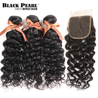Black Pearl Brazilian Hair Weave Bundles With Closure Remy Human Hair 3 Bundles With Closure Water Wave Bundles With Closure