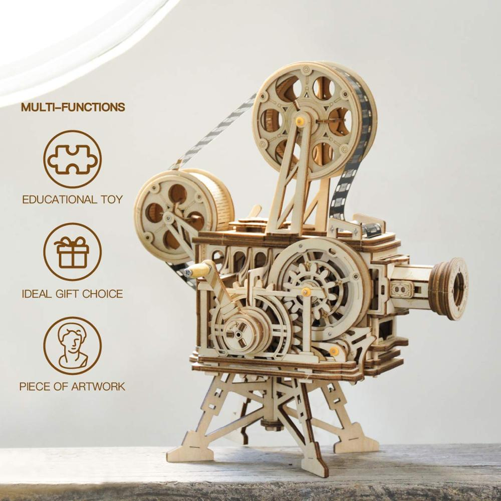 Image 3 - ROKR Hand Crank Projector Classic Film Vitascope 3D Wooden Puzzle Model Building Block Toys for Children Adult LK601-in Model Building Kits from Toys & Hobbies