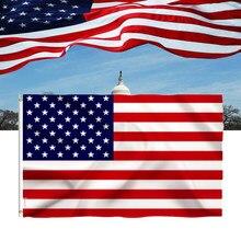 Candiway 90x150 cm americano eua cor vívida e uv fade resistente canvas encabeçamento duplo costurado eua bandeiras com grommets de bronze