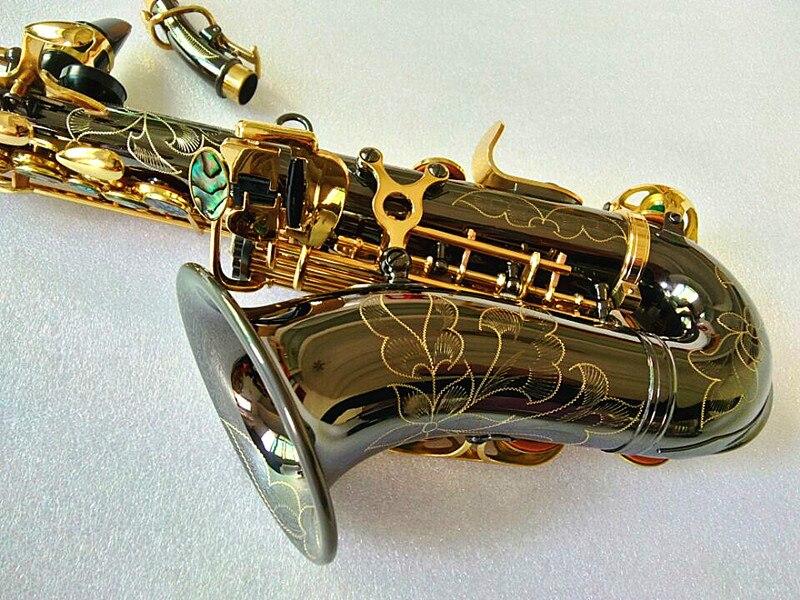 Saxofone soprano novo preto níquel ouro padrão