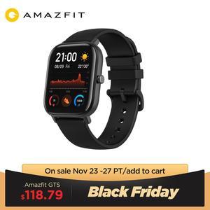 Image 1 - グローバルバージョンamazfit gtsスマート腕時計 5ATM防水スマートウォッチ 14 日バッテリーgps音楽制御革シリコンストラップ