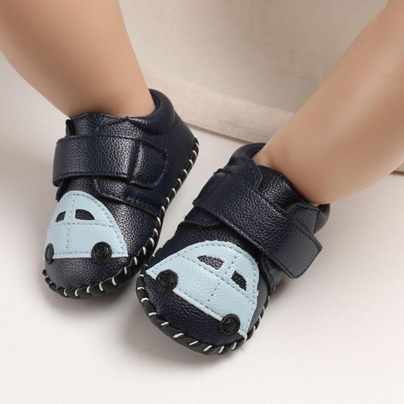 Kids boys girls sneaker slip on Cute Sleeping Cat Moon anti-slip sole light first walker shoe