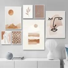 Boho abstrato cartaz neutro geométrico botânico pintura da lona nordic linha arte impressão parede imagem para sala de estar decoração casa