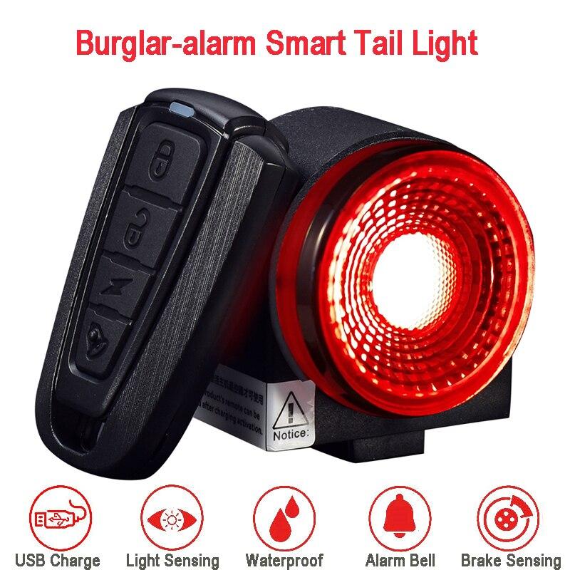 Bicycle Smart Taillight Burglar-alarm Light Anti-theft Rear Light Brake Sensing Cycling Taillight Flashlight w/ Remote Control