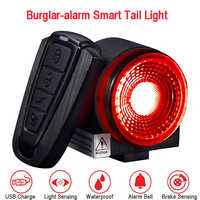 Bicycle Smart Taillight Burglar-alarm Light Anti-theft Rear Light Brake Sensing Cycling Taillight Flashlight w/ Remote Control