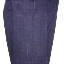Checked Trousers Men Fashion Navy Glen Check Windowpane Pants Tailor Made Slim James Bond Prince of Wales Checkered Dress Pants