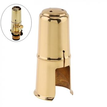 цена на Alto Saxophone Mouthpiece Cap Brass Gold Plated Protective Cap for Leather Sax Mouthpiece Metal Ligature Saxophone Mouthpiece