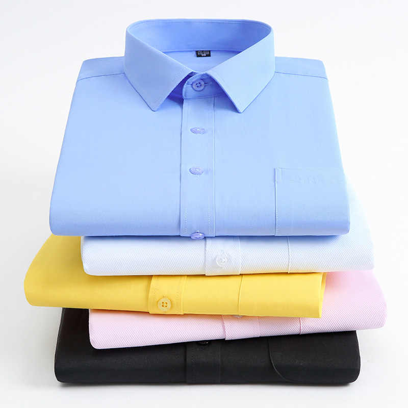 男性の長袖標準フィット固体の基本的なドレスシャツ単一のパッチポケットフォーマルボタンアップストライプ/チェック柄シャツ
