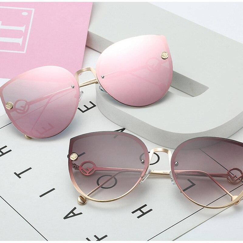 ZUCZUG Cat Eye Sunglasses Women Brand Design Metal Frame Mirror Sun Glasses Vintage Rimless Gradient Glasses For Female UV400