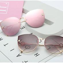 ZUCZUG gafas de sol de ojo de gato, gafas de sol con marco de Metal de diseño de marca para mujer, gafas con degradado sin montura Vintage para mujer UV400
