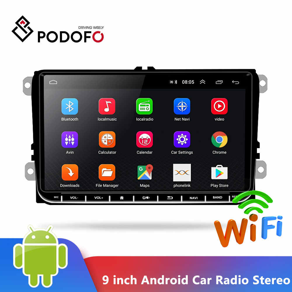 Podofo 9 Inch Android 6.0 Auto Radio Stereo Touch Screen Auto Multimedia Speler 2 Din Radio Gps Stereo Wifi Voor vw Passat Golf MK5