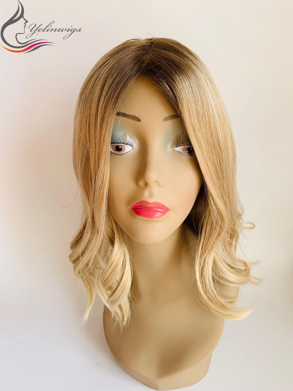 High Density Customized Ombre Color European Virgin Hair Kosher Wigs 4*4 Silk Base Jewish Wigs Free Shipping