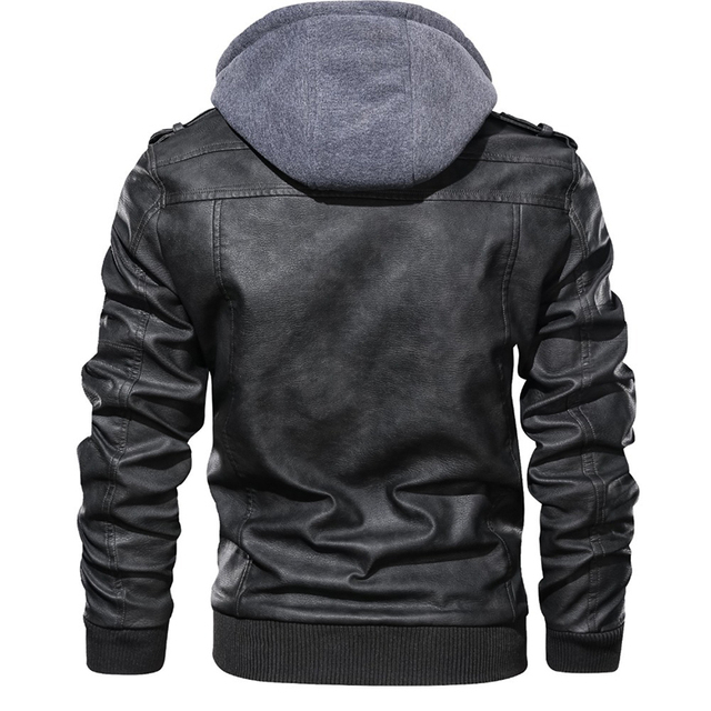 New Mens Outwear Bomber Vintage Autumn Black PU Leather Casual Jacket Slim Fit Motorcycle Biker Coats Removable Hood 5