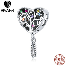 BISAER Tree of Life Charms 925 Sterling Silver Heart Shaped Pendant Beads for Bracelet Necklaces DIY Jewelry Accessories ECC1768