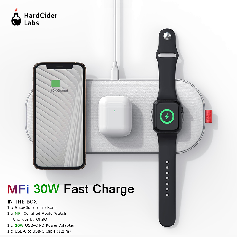 MFi Wireless Charger 30W Fast Charging 3 in 1 Pad for iPhone 11 Pro Apple Watch 5 4 3 2 Airpods Hard Cider Labs SliceCharge Pro title=