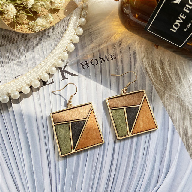 17KM New Vintage Round Wood Drop Earrings For Women Brincos Square Geometric Dangle Earring 2020 Statement Fashion Jewelry