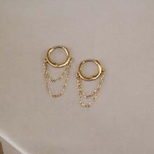 CMajor 9K Solid Gold Earring Retro Fashion Temperament Doubl