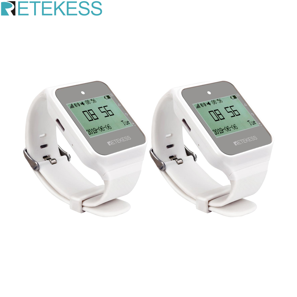 Retekess 2pcs TD108 Wireless Watch Receiver 433MHz Multi Language  Pager Waiter Calling System Restaurant Pager Customer ServicePagers