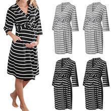 Платье для беременных с длинным рукавом модное Полосатое Многофункциональное