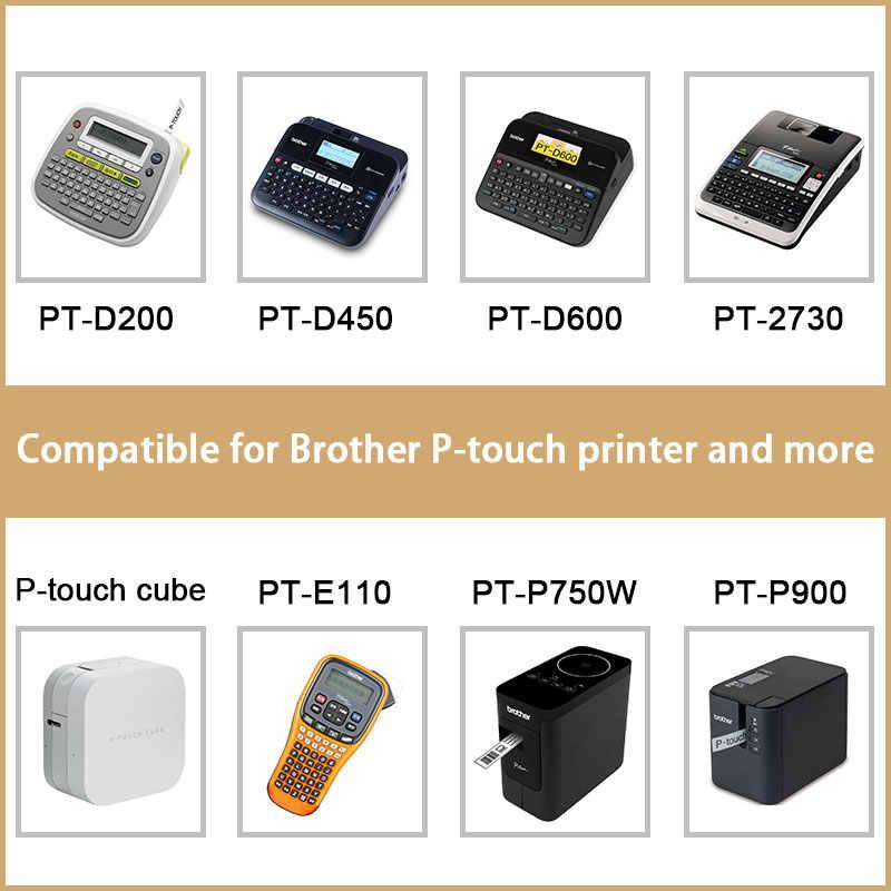 UniPlus TZe131 tze231 tze431 tze531 tze631 tze731 ฉลาก 12 มม.สำหรับ Brother PT E100 เครื่องพิมพ์ P-touch หลายสีสติกเกอร์