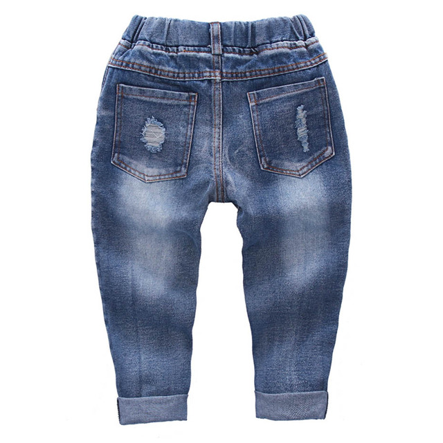 Ripped Jeans Girl Hole Baby Girl Jeans Casual Style Jeans Kids Solid Color Children's Clothing 2