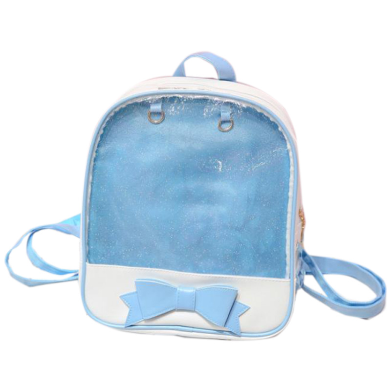 Korean Women'S Backpack Fashion Bow Backpack Trend Simple Personality Transparent Backpack